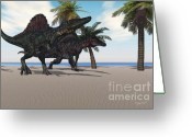 Wondrous Digital Art Greeting Cards - Prehistoric Beach Greeting Card by Corey Ford