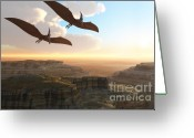 Pterodactyl Greeting Cards - Prehistoric Canyon Greeting Card by Corey Ford