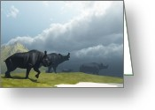 Wondrous Digital Art Greeting Cards - Prehistoric Fog Greeting Card by Corey Ford