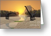 Wondrous Digital Art Greeting Cards - Prehistoric River Greeting Card by Corey Ford