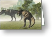 Wondrous Digital Art Greeting Cards - Prehistoric T-Rex Greeting Card by Corey Ford