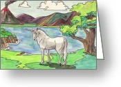 Volcano Greeting Cards - Prehistoric Unicorn Greeting Card by Crista Forest
