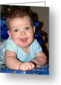 Grandson Greeting Cards - Present Baby Blues Greeting Card by Joy Tudor