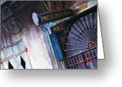 Entrance Door Greeting Cards - Preservation Hall Sign Greeting Card by Jeremy Woodhouse
