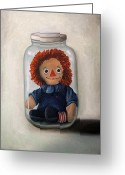 Mason Jar Greeting Cards - Preserving Childhood 2 Greeting Card by Leah Saulnier The Painting Maniac