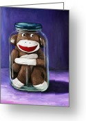 Doll Painting Greeting Cards - Preserving Childhood 3 Greeting Card by Leah Saulnier The Painting Maniac