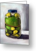 Mason Jar Greeting Cards - Preserving Childhood Greeting Card by Leah Saulnier The Painting Maniac