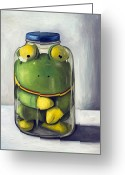 Toad Greeting Cards - Preserving Childhood upclose Greeting Card by Leah Saulnier The Painting Maniac