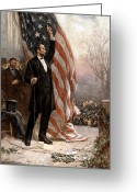 Great Painting Greeting Cards - President Abraham Lincoln Giving A Speech Greeting Card by War Is Hell Store