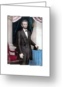 Great Painting Greeting Cards - President Abraham Lincoln In Color Greeting Card by War Is Hell Store