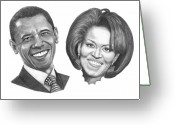 First-lady Drawings Greeting Cards - President and First Lady Obama Greeting Card by Murphy Elliott