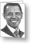 Graphite Greeting Cards - President Barack Obama by Murphy Art. Elliott Greeting Card by Murphy Elliott