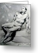 Barack Drawings Greeting Cards - President Barack Obama Nude Study Greeting Card by Karine Percheron-Daniels
