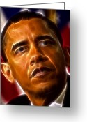 President Obama Digital Art Greeting Cards - President Barack Obama Greeting Card by Pamela Johnson