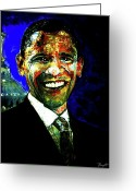 President Obama Greeting Cards - President Barack Obama Greeting Card by Romy Galicia