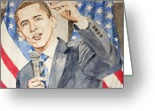 Hussein Greeting Cards - President Barack Obama speaking Greeting Card by Andrew Bowers