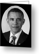 Presidential Portrait Greeting Cards - President Barack Obama Greeting Card by War Is Hell Store