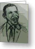 Barack Obama Mixed Media Greeting Cards - President Barack Obama Greeting Card by William Winkfield