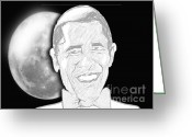 Barrack Obama Greeting Cards - President  Barrack Obama Greeting Card by Belinda Threeths