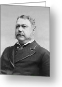 Presidential Portrait Greeting Cards - President Chester Arthur - c 1882 Greeting Card by International  Images