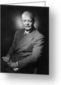 Presidential Portrait Greeting Cards - President Dwight Eisenhower Greeting Card by War Is Hell Store