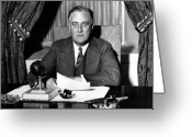 Fdr Greeting Cards - President Franklin Roosevelt Greeting Card by War Is Hell Store