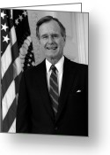 George Herbert Walker Greeting Cards - President George Bush Sr Greeting Card by War Is Hell Store