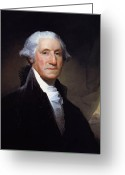 Navy Painting Greeting Cards - President George Washington Greeting Card by War Is Hell Store