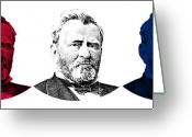 Civil Greeting Cards - President Grant Red White and Blue Greeting Card by War Is Hell Store