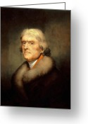 Founding Fathers Painting Greeting Cards - President Jefferson Greeting Card by War Is Hell Store