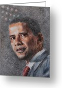 Barack Drawings Greeting Cards - President Greeting Card by Joanna Gates