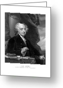 4th July Drawings Greeting Cards - President John Adams Greeting Card by War Is Hell Store