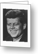 Assassinated Leaders Greeting Cards - President John Kennedy Greeting Card by War Is Hell Store