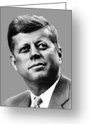 President Greeting Cards - President Kennedy Greeting Card by War Is Hell Store