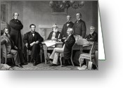 Abraham Lincoln Greeting Cards - President Lincoln and His Cabinet Greeting Card by War Is Hell Store