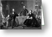 American President Drawings Greeting Cards - President Lincoln And His Family  Greeting Card by War Is Hell Store
