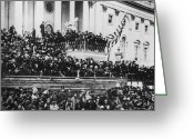 Civil Greeting Cards - President Lincoln gives his second inaugural address - March 4 1865 Greeting Card by International  Images