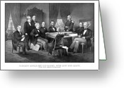 President Drawings Greeting Cards - President Lincoln His Cabinet and General Scott Greeting Card by War Is Hell Store