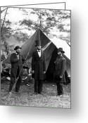 Antietam Greeting Cards - President Lincoln meets with Generals after victory at Antietam Greeting Card by International  Images