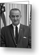 Democrat Party Greeting Cards - President Lyndon Johnson Greeting Card by War Is Hell Store