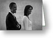 Michelle-obama Greeting Cards - President Obama and First Lady BW Greeting Card by David Dehner