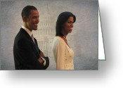 Michelle-obama Greeting Cards - President Obama and First Lady Greeting Card by David Dehner