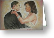 Husband And Wife Greeting Cards - President Obama and First Lady Greeting Card by G Cuffia
