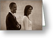 Michelle-obama Greeting Cards - President Obama and First Lady S Greeting Card by David Dehner