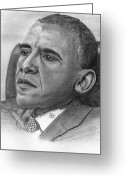 President Obama Greeting Cards - President Obama Greeting Card by Gil Fong