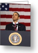 Barrack Obama Greeting Cards - President Obama Greeting Card by War Is Hell Store