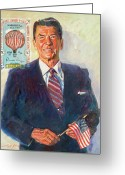 Featured Artist Painting Greeting Cards - President Reagan Balloon Stamp Greeting Card by David Lloyd Glover