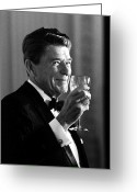 Ronald Greeting Cards - President Reagan Making A Toast Greeting Card by War Is Hell Store