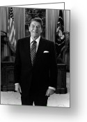 Gop Greeting Cards - President Ronald Reagan In The Oval Office Greeting Card by War Is Hell Store
