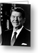 Presidential Portrait Greeting Cards - President Ronald Reagan Greeting Card by International  Images